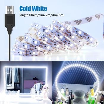 1/2/3/5M Makeup Mirror Light String USB 5V Dressing Table Bathroom Lamp Tape Led Vanity Mirror Make Up Light Strip Home Decor 1