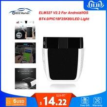 ELM327 V2.2 PIC18F25K80 الدردار 327 V2.2 بلوتوث 4.0 ل أندرويد/IOS OBD OBD2 سيارة تشخيص السيارات أداة obd2 الماسح الضوئي رمز القارئ