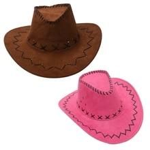 Ретро унисекс джинсовая дикая западная ковбойская Родео нарядное платье аксессуар шляпы розовый красный и светильник кофе 2 шт