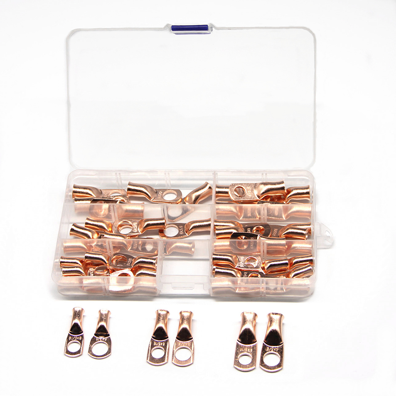 "48PCS 3/8"" 5/16"" Wire Ring Crimp Terminals Bare Copper Wire Connectors Lugs Battery 8 4 AWG Kit Assortment