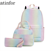 atonfor Brand Fashion Women Backpack Set Female School Bagpack with Lunch Box Ba