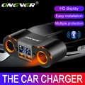 Onever 3.5A Dual USB מטען לרכב מצית מתאם 80W כוח שקע ממיר עבור DVR רכב מתח תצוגה עם 2 מתג