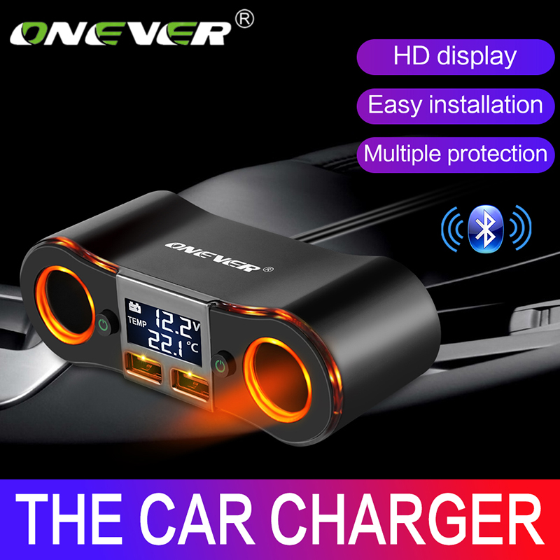 Onever 3.5A Dual USB Charger Car Cigarette Lighter Adapter 80W Power Socket Converter For DVR Car Voltage Display With 2 Switch