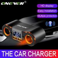 Onever 3.5A çift usb şarj araba sigara çakmak adaptörü 80W güç soketi dönüştürücü için DVR araba voltajlı ekran 2 anahtarı|converter for car|converter socketconverter voltage -
