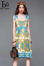 Baogarret 2019 Fashion Runway Summer Dress Womens Spaghetti Strap Floral Print Casual Slim Short vestidos