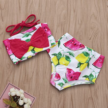 Kids Baby Girl Fruit Print Bikini Beach Swimsuit Bathing Swimwear Outfits Summer Bikini Sets Kids Swimsuit baby Lovely Swimwear(China)