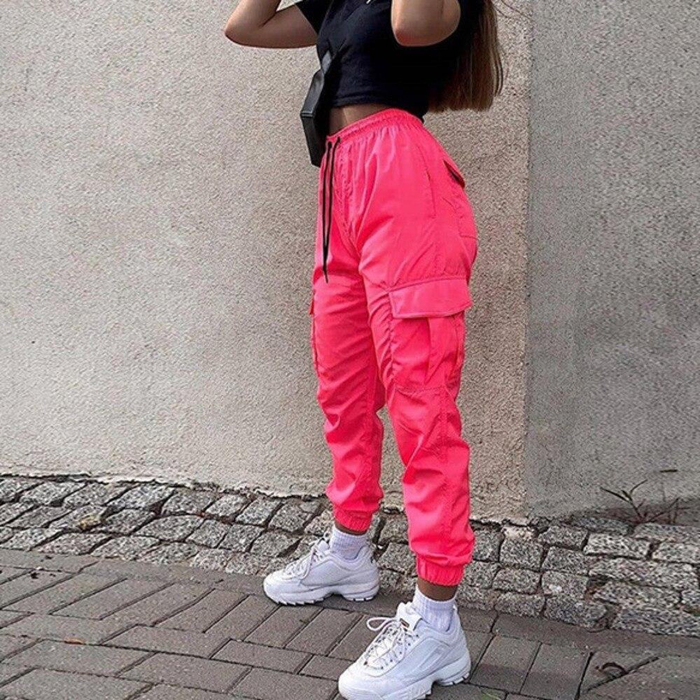 Women Neon Pink Pockets Jogger Fashion Harem Pants High Waist Loose Trousers Fashion Trousers Female Sweatpants Plus Size