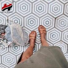 NAN JIU/сандалии на плоской подошве летние женские тапочки кожаная удобная подошва кольцо с перекрестным плетением 8 цветов Женская обувь сплошной цвет
