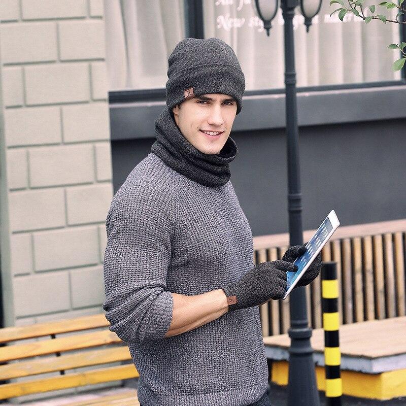 Nouvelle mode standard meilleure vente tricoté fil chapeau écharpe gants trois pièces costume hiver chaud costume hommes mode