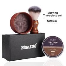Bluezoo Shaving Kit Barber Shaving Wooden Brush Shaving Cream Bubble Bowl Shaving Brush Gift Box