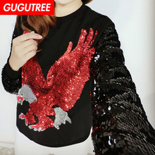 GUGUTREE embroidery Sequins big eagle patches animal bird patches badges applique patches for clothing RCT-19121009 gugutree embroidery big dragon patches animal patches badges applique patches for clothing dx 18
