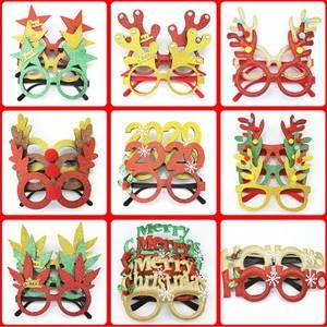 DHL 500pcs Christmas Ornaments Adult Children's Christmas Glasses Santa Snowman Antlers Glasses Christmas Decoration Craft Toy