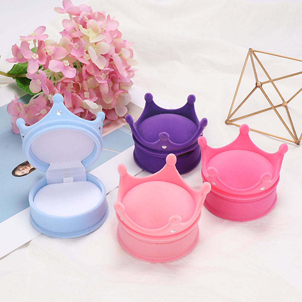 New 1 pcs Ring Necklaces Earring Box Shell Shape crown Velvet Valentine Gift Display Jewellery Cases