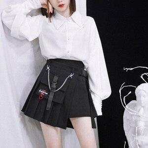 Image 5 - 新着ゴシック原宿女性のクールシックなプレッピースタイル赤チェック柄 pleate 黒女性のファッションショーツスカート
