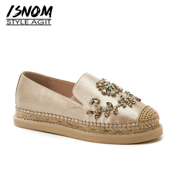 ISNOM Crystal Straw Flats Sheep Leather Shoes High quality Flats Women 2020 Bohemia Style Women Flat Shoes