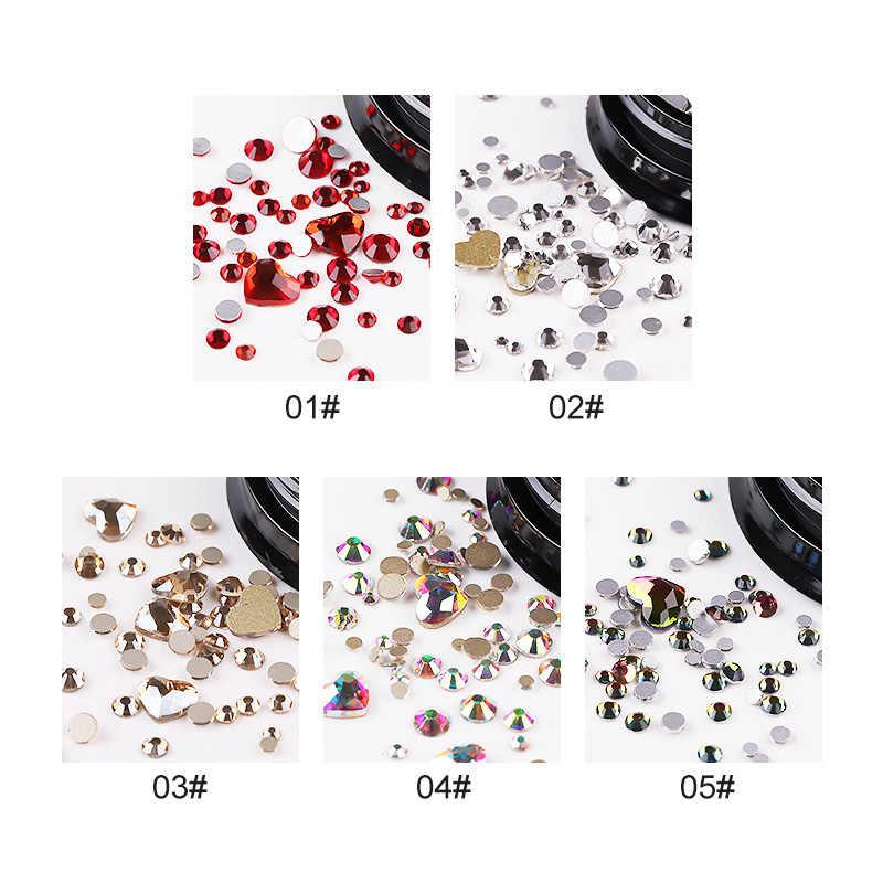 1/תיבת 3D נייל Rhinestones אבנים צבעוני AB צבע לב עגול שטוח תחתון ברור Rhinestones רב גודל 3D נייל אמנות קישוט