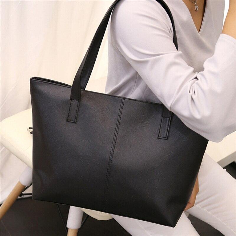 Женские сумки, женская простая мягкая сумка-тоут, большая вместительность, сумки на плечо, черные, красные, женские повседневные сумки для п...