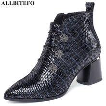 ALLBITEFO ماركة الموضة عالية الكعب حذاء من الجلد للنساء جلد طبيعي أحذية عالية الكعب الشتاء الثلوج النساء أحذية أحذية عالية الكعب