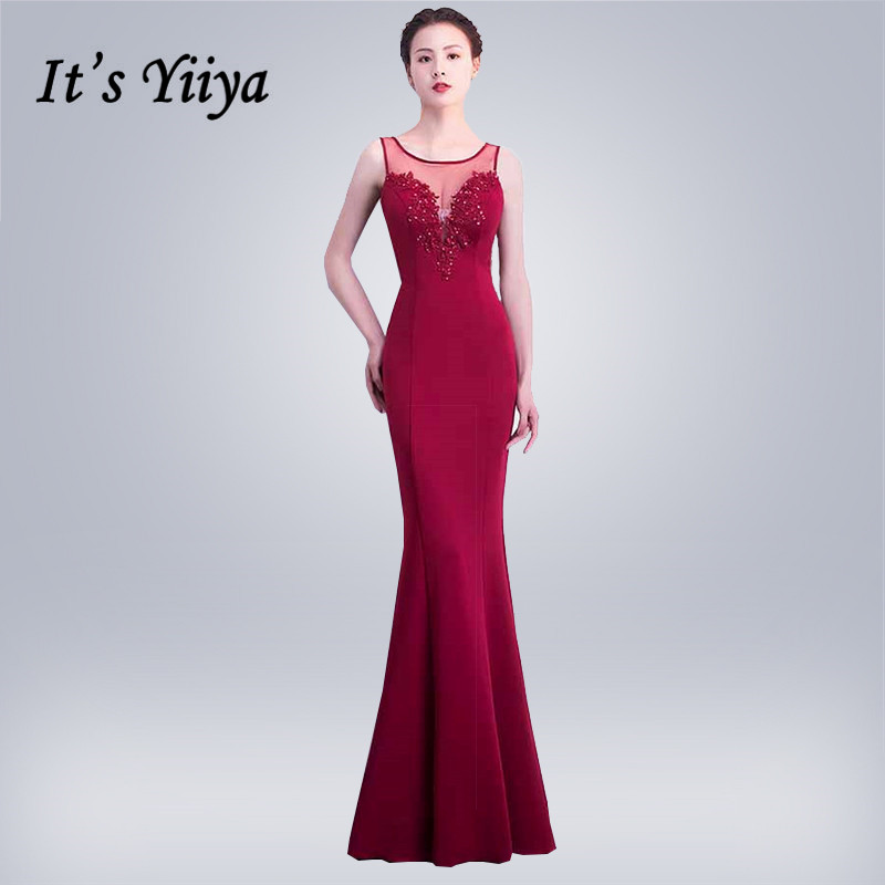 Mermaid Evening Dress It's Yiiya DX299 Sleeveless Sequined Formal Dress Women Elegant O-Neck Appliques Illusion Robe De Soiree
