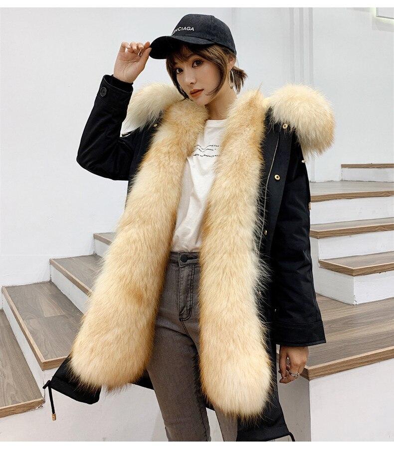 Real Parka Fur Coat Female Natural Raccoon Fur Jacket Winter Coat Women Clothes 2020 Warm Long Jackets Manteau Femme MY S