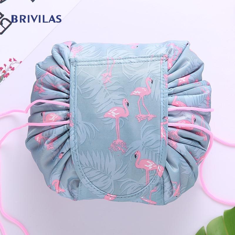 Brivilas Drawstring Travel Cosmetic Bag Women Makeup Storage Portable Unicorn Bag Flamingo Waterproof Fashion Wash Toiletry  Bag