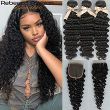 Rebecca Brazilian Deep Wave Hair Bundles With Closure Remy Human Hair Weaves 3 Bundles Deep Wave With Closure