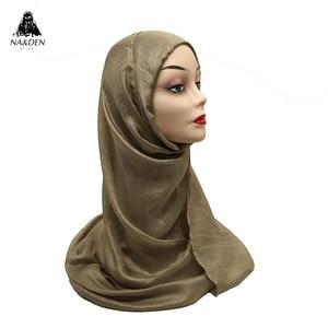 1PCS Hot sale Silk-like scarves Women shalws Ladies muslim hijab Long muffler Solid plain wraps Headband Pure color bandana(China)