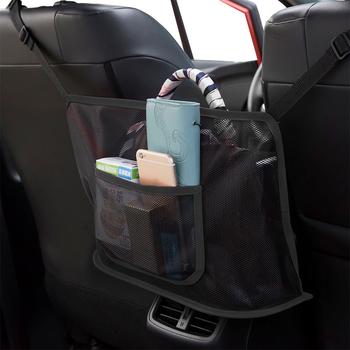 Kieszeń na samochód przechowywanie za fotelem samochodowym wieszak na torebki między siedzeniem przechowywanie Pet Net Barrier Dog Net Barrier akcesoria do wnętrz samochodowych tanie i dobre opinie CN (pochodzenie) Seat Szczelinowa Schowek Torba Polyester Support