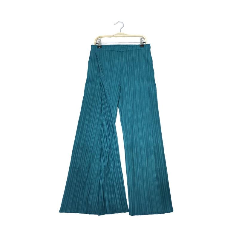 TVVOVVIN Color sólido cintura baja banda elástica plisada pantalones partidos Mujer Pantalones rectos moda 2019 otoño invierno nuevo D339 - 6