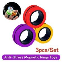 Anéis magnéticos anti-stress pulseira magnética anel unzip brinquedo magia adereços ferramentas brinquedos de descompressão pulseira magnética anel de brinquedo