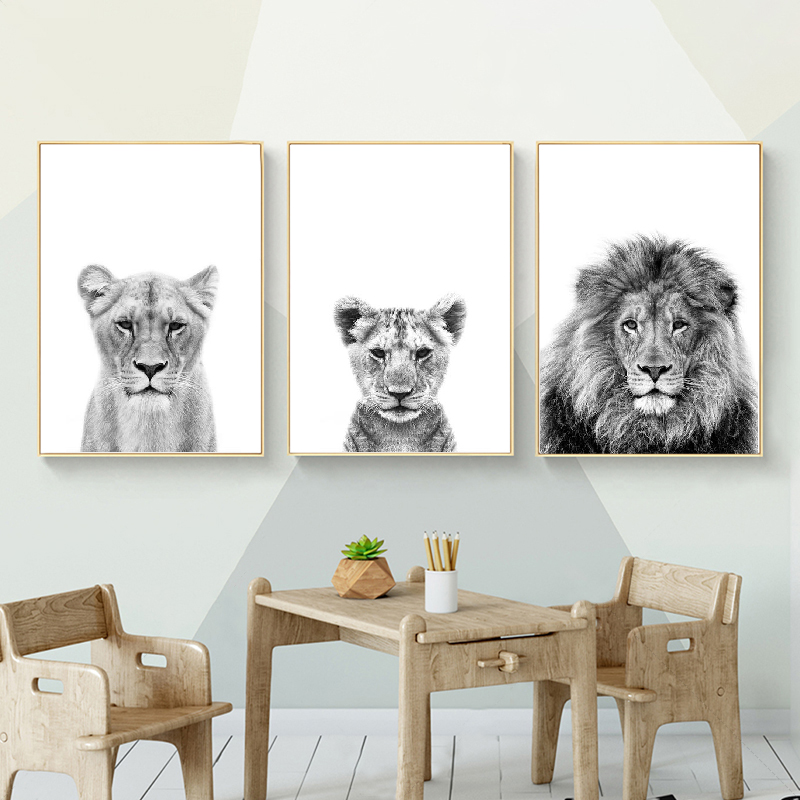 Lion Cub Print Black And White Lioness Animals Posters Safari Nursery Wall Decor Baby Animal Kids Wall Art Canvas Painting