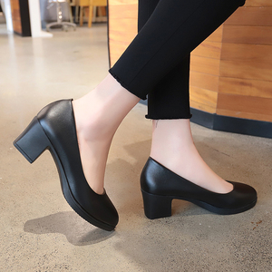 Image 5 - Rimocy office lady classic black leather pumps 2019 spring 5cm square heels slip on working shoes woman casual all match sandals