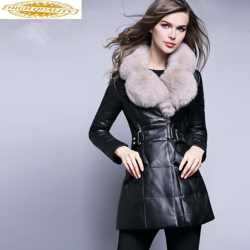 Genuine Leather Jacket Winter Jacket Women Real Fox Fur Collar Down Jackets For Women 100% Real Sheepskin Coat MY4051
