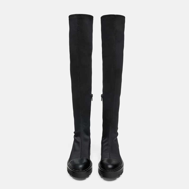 ElisabetTang chaussures pour femmes bout rond plate-forme cuisse haute bottes longues pour femme fond épais Sexy mince Stretch sur la botte du genou