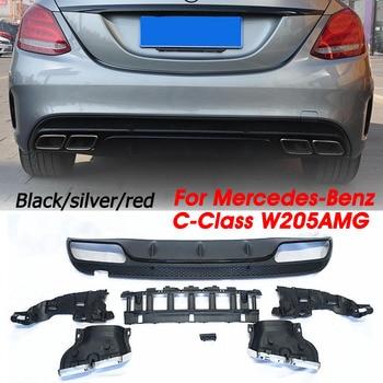 Autoleader 1Set Black/Red/Silver ABS Rear Bumper Diffuser Exhaust Muffler Tips Spoiler Sedan Bumper Guard For Benz C-Class W205