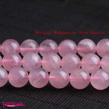 High Quality Natural Madagascar Rose Quartz Stone 4mm 6mm 8mm 10mm 12mm 14mm Necklace Bracelet Jewelry Loose Beads 15 Inch wj621(China)