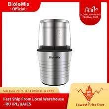 Moedor de especiarias e grãos de café, aço inox, moedor elétrico de copos duplos 2 em 1, corpo de aço inoxidável e lâminas retas, 300W