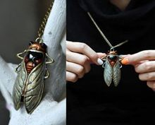 Metal Fashion New Charm Vintage Bronze Tone Metal Insect Cicada Pendant Sweater Necklace
