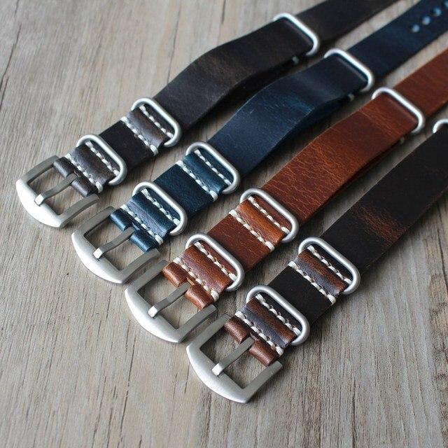 1 pièces 20MM 22MM 24MM hommes rétro bracelet en cuir véritable bracelet de montre pour otan sangles zoulou bracelet bleu jaune marron huile cire bracelets de montre