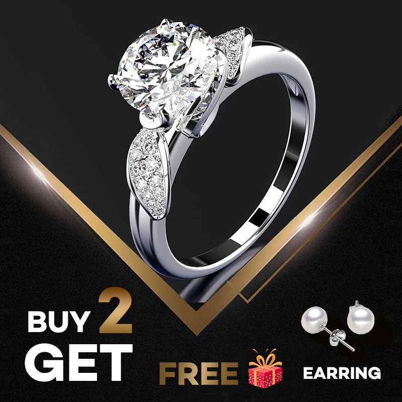 Pansysen New Classic Wedding Propose Rings For Women Genuine