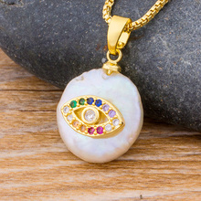 Classic Fashion Gold Chain CZ Pendant Choker Necklace Charm Natural Coin Pearl Bead Zircon Evil Eye Necklace For Women Jewelry n090612 21 white keshi pearl necklace cz pendant