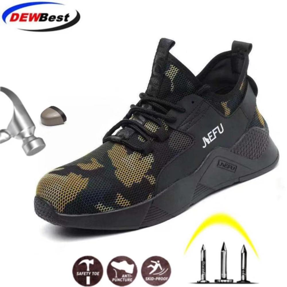 DEWBEST Men Work Safety Shoes Fashion Sneaker Outdoor Steel Toe Male Military Combat Ankle Boots Anti-smashing Work Safety Boots