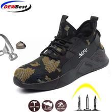 DEWBEST/Мужская Рабочая защитная обувь; модные кроссовки; уличные мужские военные армейские ботинки со стальным носком; противоударные рабочие защитные ботинки