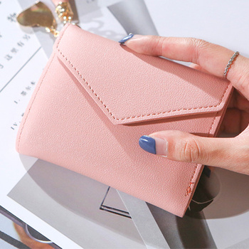 Wallet Women 2020 Lady Short Wallets Red Color Mini Money Purses Small Fold PU Leather Female Coin Purse Card Holders