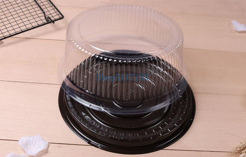 wholesale big round cake box/ 8 inches <font><b>cheese</b></font> box /clear plastic cake container / big cake <font><b>holder</b></font> Free Shipping image