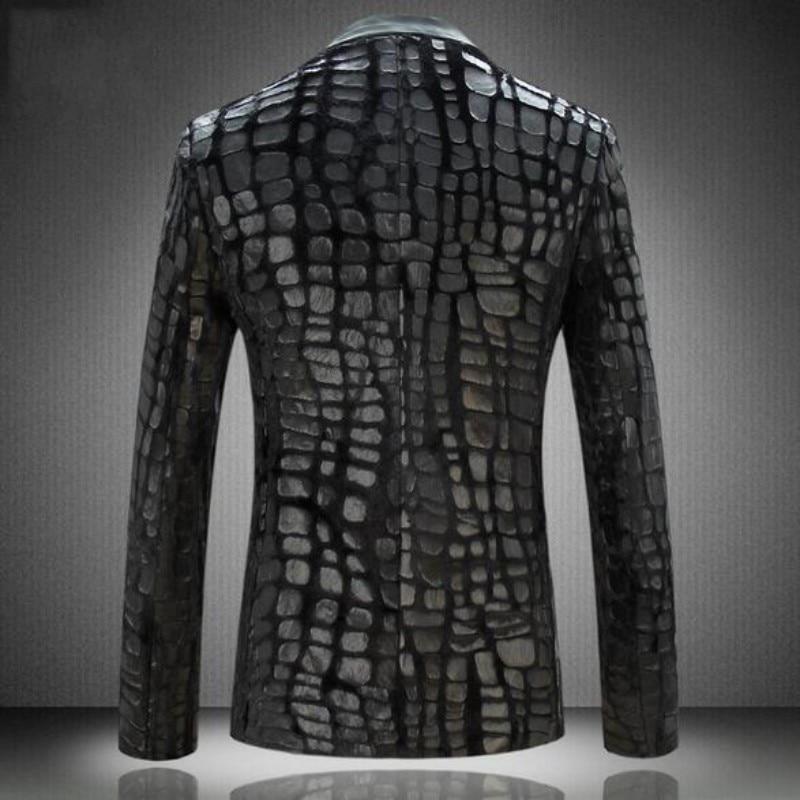 Euro Men Blazer Jacket 2020 New Brand Male Casual Faux Leather Spliced Velvet Suit Fashion Pieces Design Blazer Size M-4xl