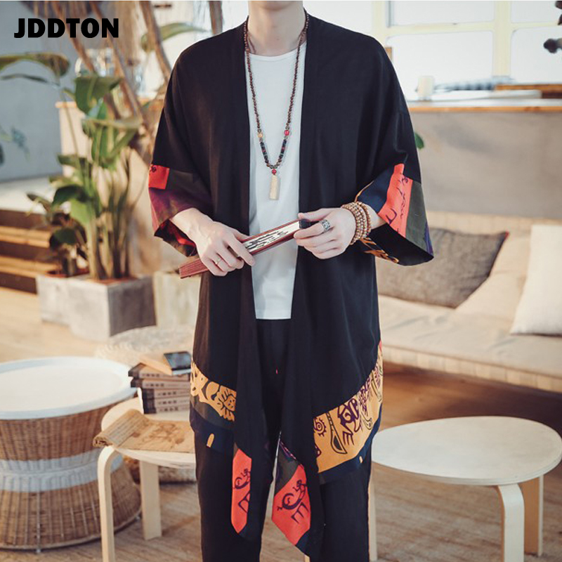 JDDTON New Men Spring Kimono Linen Long Cardigan Outerwear Coat Fashion Casual Loose Irregular Length Male Jacket Overcoat JE001