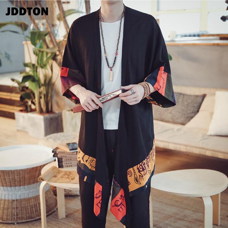 JDDTON New Men Spring Kimono Linen Long Cardigan Outerwear Coat Fashion Casual Loose Irregular Length Male Jacket Overcoat JE001