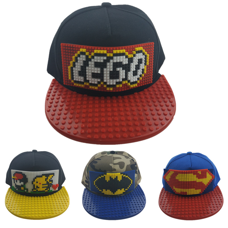 Hot sell Children personality DIY hat building block assembly baseball cap men and women flat cosplay edge cap cartoon cute