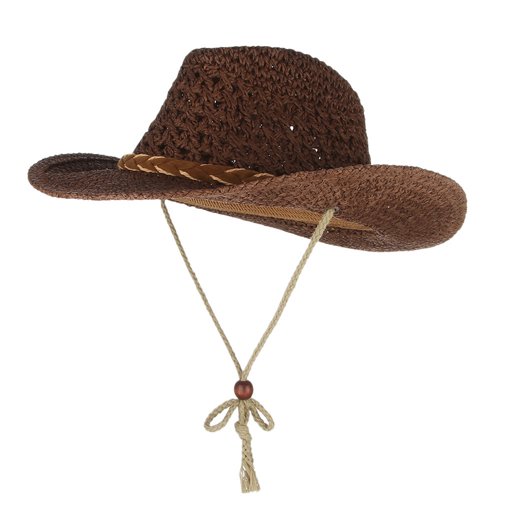 SAGACE Parent-child Western Cowboy Style Straw Hat Winter Autumn Beach Sunshade Windproof Straw Cover Mesh Breathable